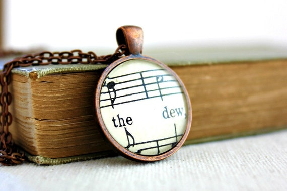 Romantic jewelry vintage style necklace copper and glass pendant sheet music necklace gift wrapped