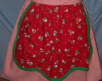 Red,Green,White Half Apron with Santa Clauses