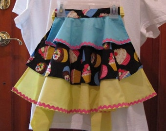 Little Girls Half Apron/ with Ruffled Layers of Cup Cake Design /size 5-6