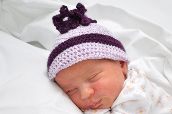Crocheted Newborn Baby Hat with Flowers 0-3 Months Size