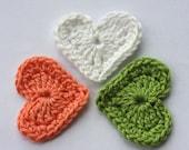 Crochet applique hearts white salmon green
