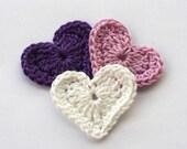 Crochet applique hearts white purple lilac