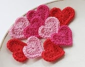 Crochet heart appliques valentines day scrapbooking embellishment scarlet red hot deep pink