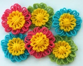 Colorful daisy flower appliques embellishment adornment garland scrapbooking spring green yellow blue hot pink epictt therougett efpteam