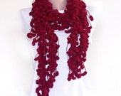 Mulberry Scarf - Crocheted long scarf -  burgundy red carmine ruby - Fall autumn winter