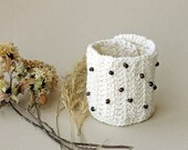 Cuff bracelet shabby chic crocheted woman wrist Ivory white cream brown wood beaded brown button
