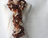 CHRISTMAS SALE Brown Knit scarf - variegated brown orange ecru  with frilly lace mesh yarn halloween autumn fall accessories
