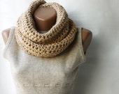 WINTER SALE Infinity scarf chunky wool crochet Beige nougat vanilla ecru tan neutral Winter accessories