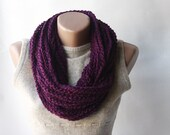 SALE Purple scarf infinity chain crochet  plum eggplant winter accessories autumn fall fashion - violasboutique
