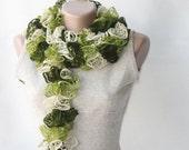 Green knit scarf green ruffled scarf Autumn fall accessories Winter fashion
