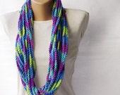 Colorful crochet scarf - wool infinity rainbow multicolor purple violet cobalt blue green winter accessories