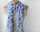WINTER SALE Blue mulberry scarf -  chunky soft baby blue neckwarmer Spring winter accessories