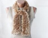 CHRISTMAS SALE Knit scarf ruffled tan wheat vanilla neutral beige earth colors spring fashion