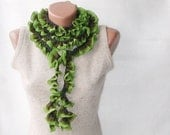 CHRISTMAS SALE Crochet ruffled scarf -  long  soft frilly woodland forest colors  dark hunter olive fern lime green tones