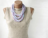 Summer Scarf Crochet necklace  pink light turquoise blue white spring summer fashion vegan cotton