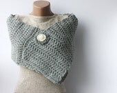 Grey wool scarf crochet chunky Light neutral Spring accessories Fall fashion