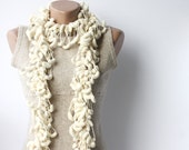 White scarf - crochet chunky cocoon mulberry Spring fashion