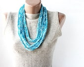 Summer Scarf Crochet loop necklace turquoise light blue white pring summer fashion vegan cotton