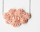 Peach bib fabric  yoyo necklace