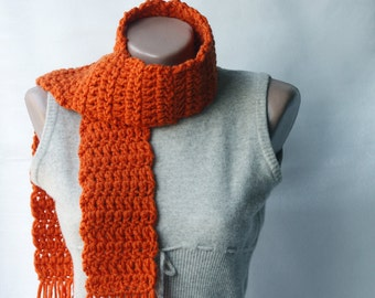 Tangerine Orange Crochet Scarf Wool Autumn Fall accessories Winter fashion