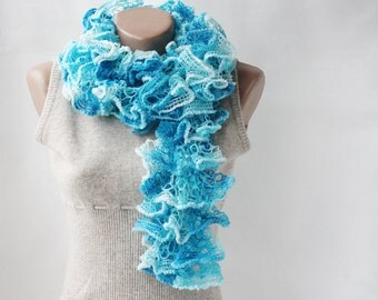 Ruffle scarf  aqua turquoise blue white variegated  knitting spring fashion vegan spring accessories