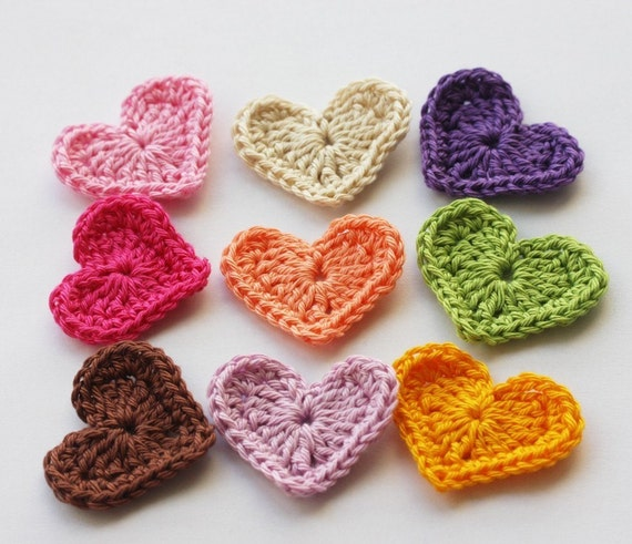 Colorful  rainbow crochet heart appliques