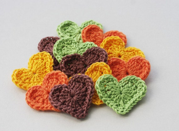 Crochet heart appliques in forest woodland colors spring autumn fall country green pumpkin orange yellow brown