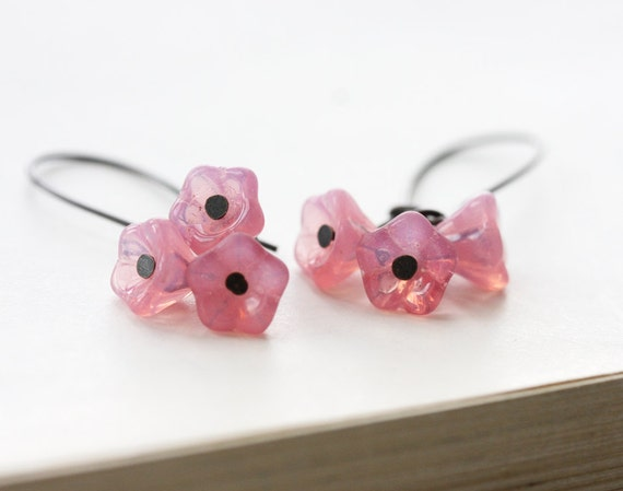 Spring jewelry Pink bloom earrings cherry blossom flower