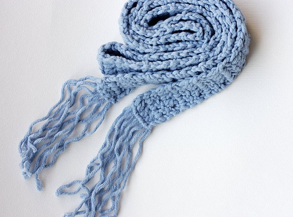 Long scarf Blue crochet scarf Wool scarf Light blue Baby blue Pastel Autumn Fall accessories