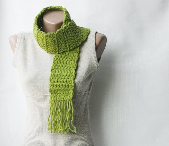 Green Crochet Scarf  Wool blend Light green Chartreuse Lime autumn accessories gift for teens