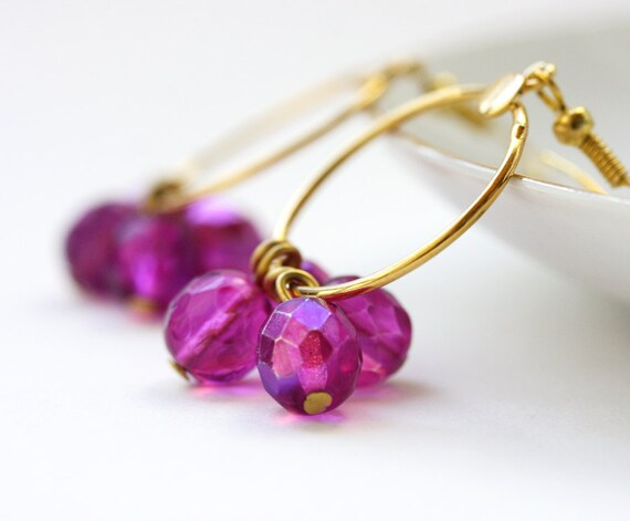 SALE 20% OFF Fuchsia hoop earrings