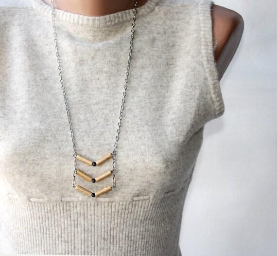Geometric necklace - tribal chevron tan sand ecru fawn nougat brown