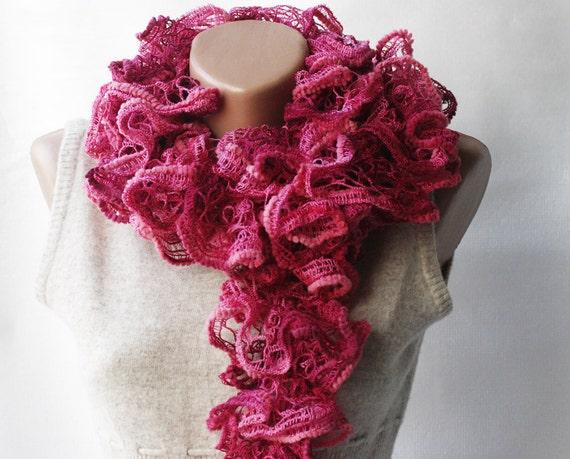 CHRISTMAS SALE Ruffle scarf - fancy pink scarf- burgundy neckwarmer - frilly scarf - kint scarf - winter fashion -  gift under 20 for women