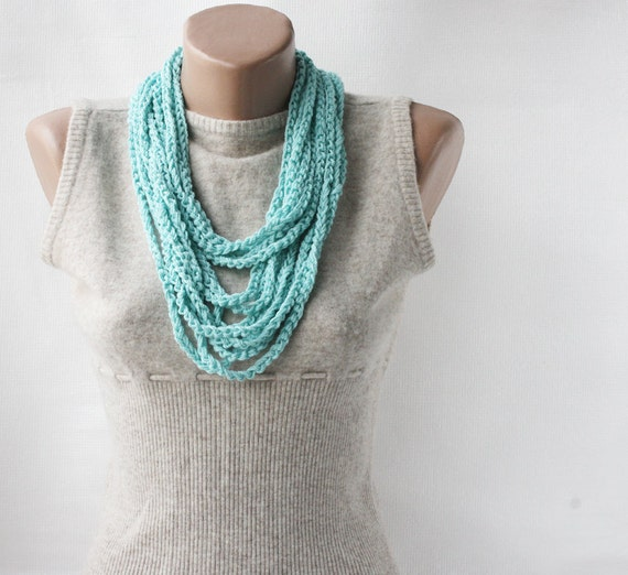 Mint green scarf necklace skinny summer scarf infinity scarf crochet scarf loop scarf crochet multi strand bohemian necklace boho clothing