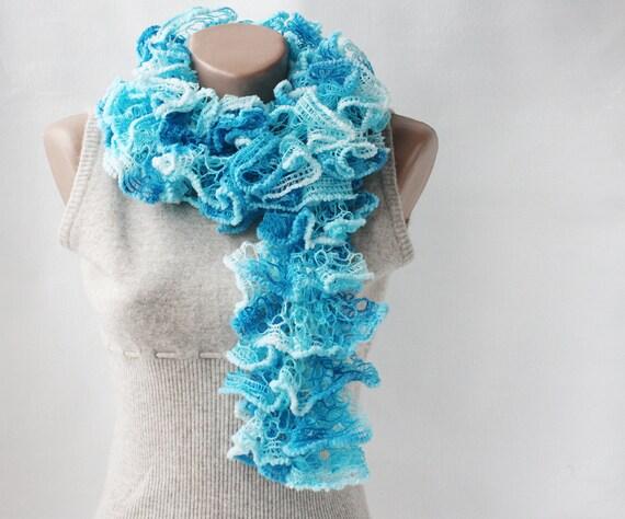 Ruffle scarf  aqua turquoise blue white variegated  knitting spring fashion vegan spring accessories
