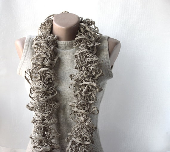 Khaki knit scarf - ecru taupe grey gray Ruffle Fashion Spring accessories Gift for mother