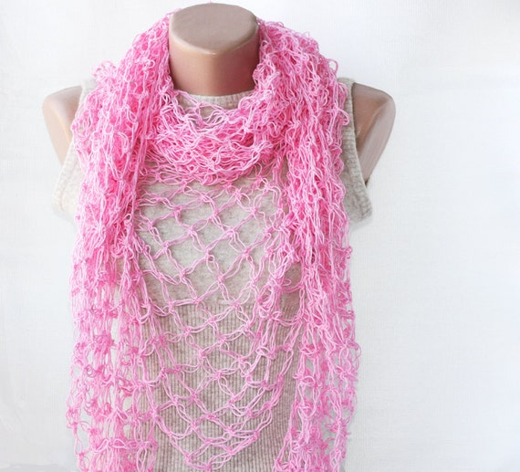 Pink summer shawl  spring summer fashion pure cotton natural vegan