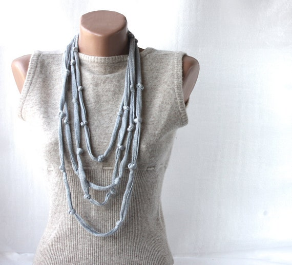 Summer Scarf Infinity Skinny Cotton necklace with knots Grey spring summer fashion vegan