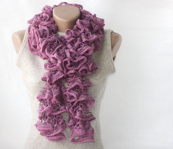 SALE Rose knit scarf Autumn fall fashion Plum twilight lavender spring accessories
