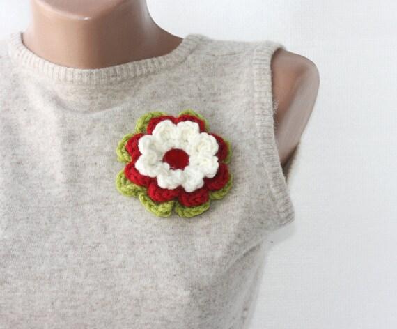 Crochet brooch pin -  green red white crochet flower