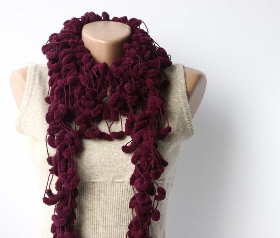 WINTER SALE Purple eggplant scarf - crochet chunky cocoon mulberry Spring fashion Dark raspberry plum
