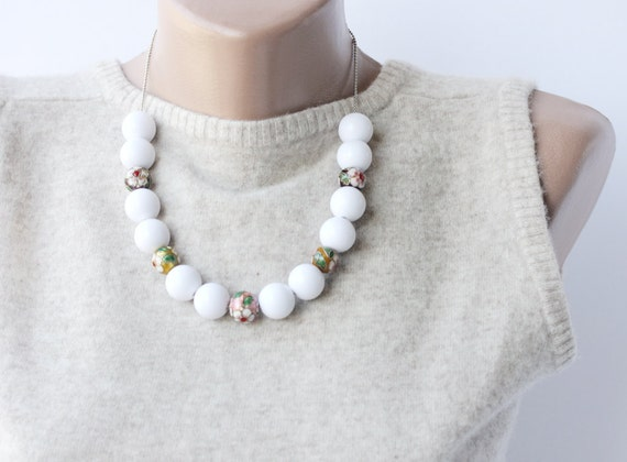 Floral fashion Acrylic and Cloisonne beaded necklace spring summer