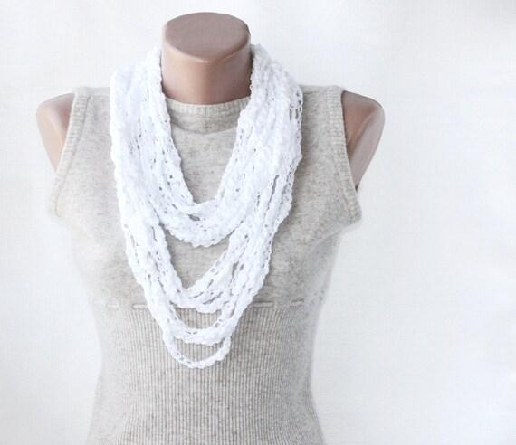 Ava summer scarf white necklace crochet scarf necklace layering necklace chain necklace  summer scarves women gift idea fashion skinny scarf