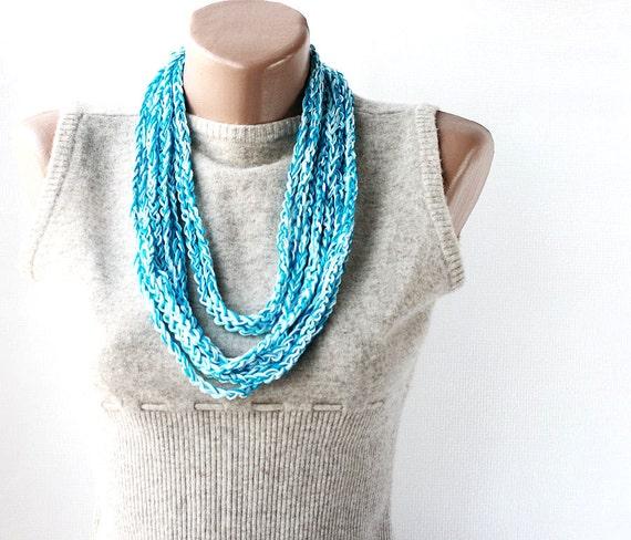 Summer Scarf Crochet loop necklace turquoise light blue white pring summer fashion vegan cotton