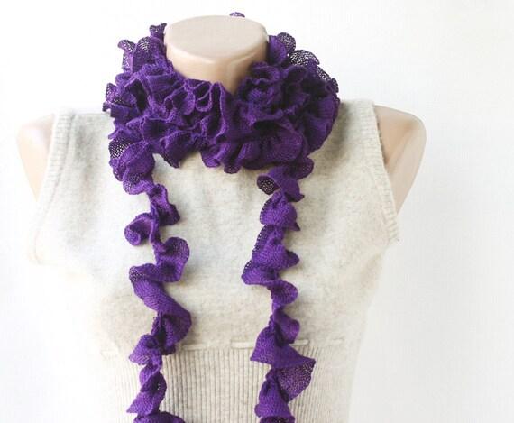CHRISTMAS SALE Purple scarf long soft frilly ruffle scarf autumn fall  fashion