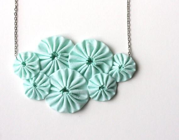 Mint green bib necklace