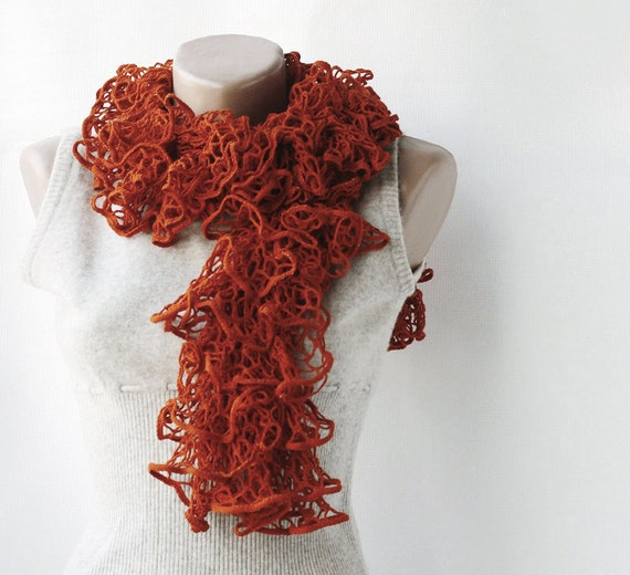 CHRISTMAS SALE Rust knit scarf - burnt orange tangerine frilly autumn fall accessories spring fashion gift for mother