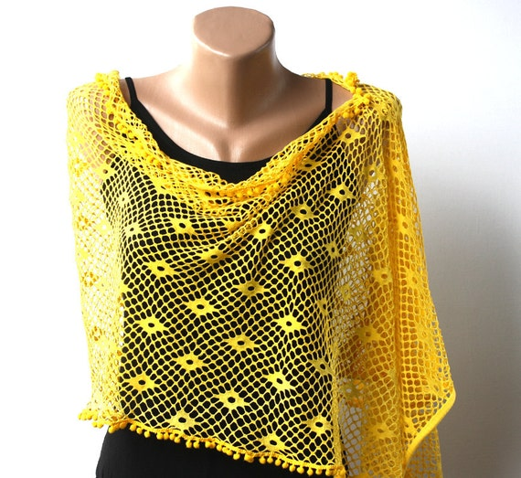 Yellow poncho  cotton summer fashion lace shawl
