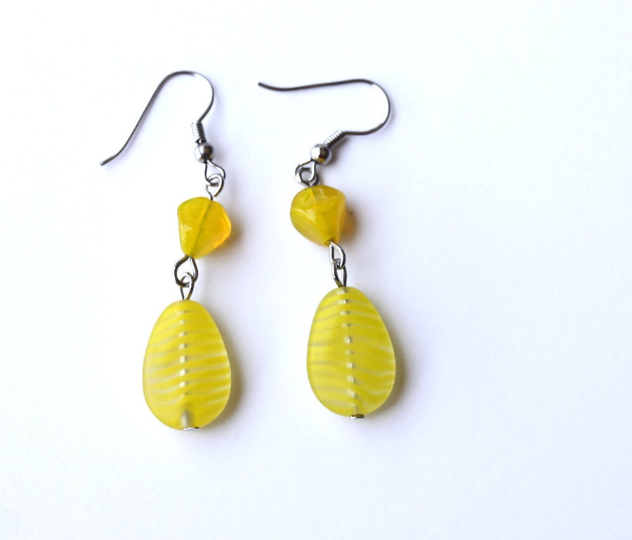 items similar to neon bright yellow dangle earrings on etsy