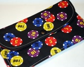 Red /Blue/Yellow Poker Chips on Black Fold over Wallet / Eyeglass Case / Gadget Bag.  Great for Mother's Day